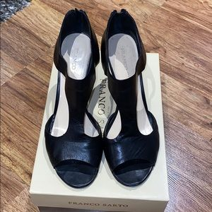 Black leather Frank Sarto T-strap style heels